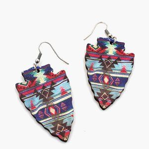 Printed Wood Arrow Shape Earrings